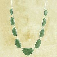 Jade pendent necklace, 'Mint Green B'olom'