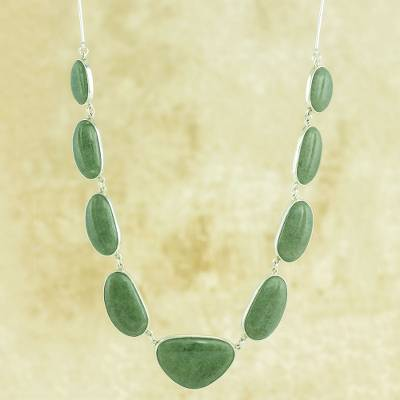 Jade pendent necklace, 'Mint Green B'olom' - Artisan Crafted jewellery Jade Necklace in Sterling Silver