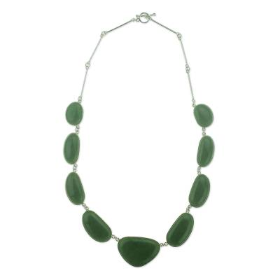 Jade pendent necklace, 'Mint Green B'olom' - Artisan Crafted Jewelry Jade Necklace in Sterling Silver