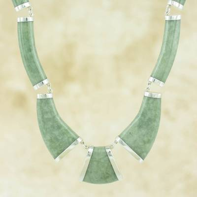 Apple green jade link necklace, 'Queen K'abel' - Maya Jade Necklace Handcrafted with Sterling Silver