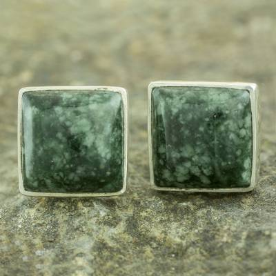 Jade button earrings, 'Forest Mystique' - Classic Silver Button Earrings with Green Maya Jade