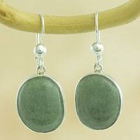 Jade dangle earrings, 'Yaxha Light' - Handmade Silver Dangle Earrings with Light Green Oval Jade