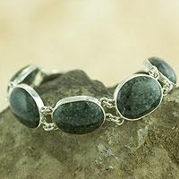 Jade link bracelet, 'Yaxha Shadows' - Green Oval Jade and Sterling Silver Handmade Link Bracelet