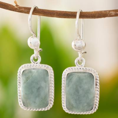 Jade dangle earrings, 'Green Nuances' - Guatemala Artisan Crafted Jade and Sterling Silver Earrings