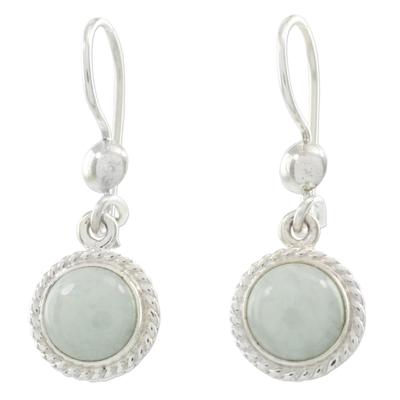 Light green jade dangle earrings, 'Green Apple' - Guatemala Light Green Jade Sterling Silver Dangle Earrings