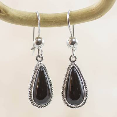 Jade dangle earrings, 'Black Tear' - Artisan Crafted Sterling Silver Black Jade Dangle Earrings