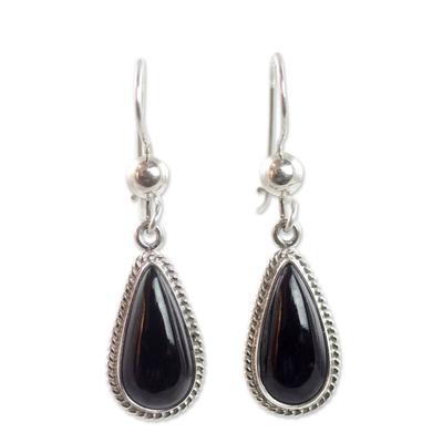Jade dangle earrings, 'Black Tear' - Artisan Crafted Sterling Silver Black Jade Dangle Earrings