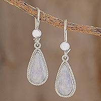 Jade dangle earrings, 'Lavender Tear' - Hand Crafted Sterling Silver Lavender Jade Dangle Earrings