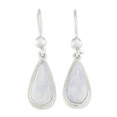 Jade dangle earrings, 'Lavender Tear' - Hand Crafted Sterling Silver Lavender Jade Dangle Earrings