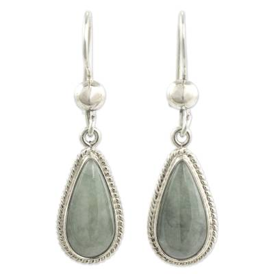 Hand Crafted Sterling Silver Mint Green Jade Dangle Earrings