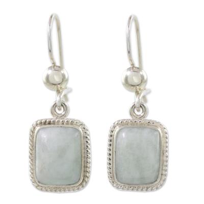 Jade dangle earrings, 'Divine Light' - Handmade Guatemalan Dark Green Jade Earrings