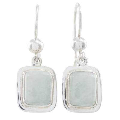 Fair Trade Mint Green Jade and Silver Earrings
