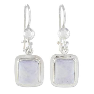 Jade dangle earrings, 'Maya Lilac' - Fair Trade Lilac Jade and Silver Modern Earrings