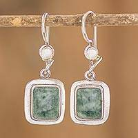 Jade dangle earrings, 'Modern Maya' - Fair Trade Modern Green Jade and Silver Earrings