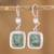 Jade dangle earrings, 'Modern Maya' - Fair Trade Modern Green Jade and Silver Earrings (image 2) thumbail