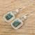 Jade dangle earrings, 'Modern Maya' - Fair Trade Modern Green Jade and Silver Earrings (image 2b) thumbail