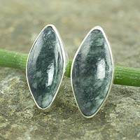 Jade button earrings, 'Green Maya Shield' - Handmade Green Jade Earrings with Silver Settings