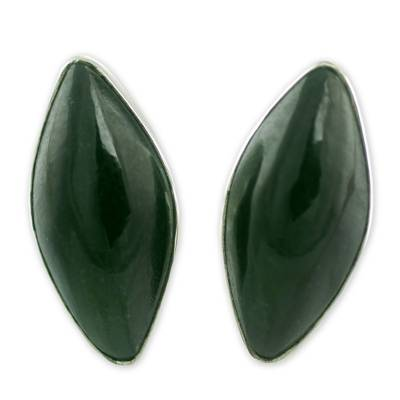 Jade button earrings, 'Black Maya Shield' - Handmade Black Jade Button Earrings with Silver Settings