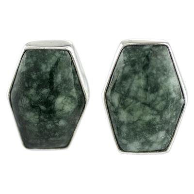 Jade button earrings, 'Green Maya Cornerstone' - Artisan Crafted Silver and Green Jade Button Earrings