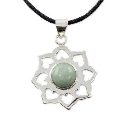 Jade pendant necklace, 'Apple Blossom' - Handmade Green Jade and Silver Necklace with Cotton Cord