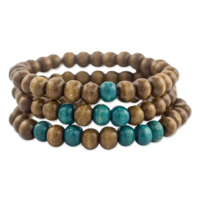 Three Handcrafted Brown and Turquoise Wood Stretch Bracelets