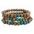 Wood stretch bracelets, 'Prayer' (set of 3) - Three Handcrafted Brown and Turquoise Wood Stretch Bracelets (image 2a) thumbail