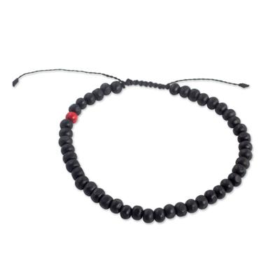 Men's beaded bracelet, 'Midnight Passion' - Black and Red Beaded Wood Drawstring Bracelet for Men