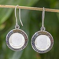 Sterling silver dangle earrings, 'Moon Over Aguacatan' - Hand Made Guatemalan Silver Earrings with Enamel Accents