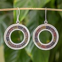 Sterling silver dangle earrings, 'Chiantla Color' - Guatemalan Multicolor enamelled Silver Dangle Earrings