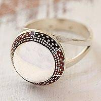Sterling silver cocktail ring, 'Moon Over Aguacatan' - Hand Made Guatemalan Silver Ring with Enamel Accents