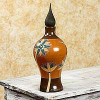 Ceramic decorative jar, 'Blue Lotus' - Fair Trade Floral Terracotta Decorative Jar from Nicaragua