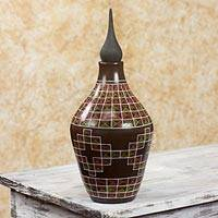 Ceramic decorative jar, 'Star Labyrinth' - Nicaraguan Hand Crafted Terracotta Decorative Jar
