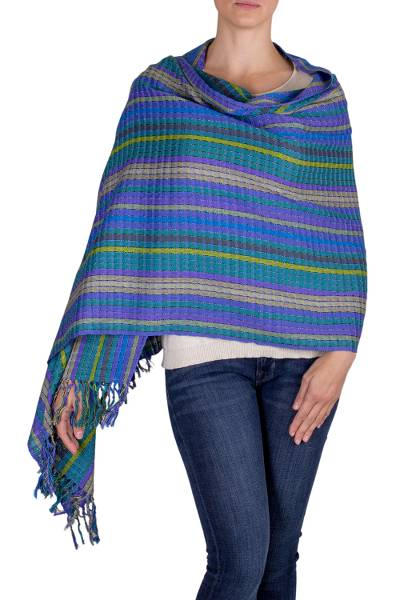 Cotton shawl, 'Valley of Lavender' - Hand Woven Cotton Shawl in Blues and Lilacs