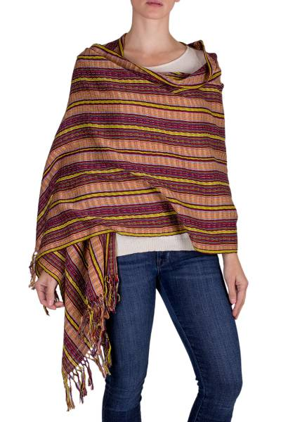 Cotton shawl, 'Valley in the Sun' - Hand Woven Cotton Shawl in Reds and Browns