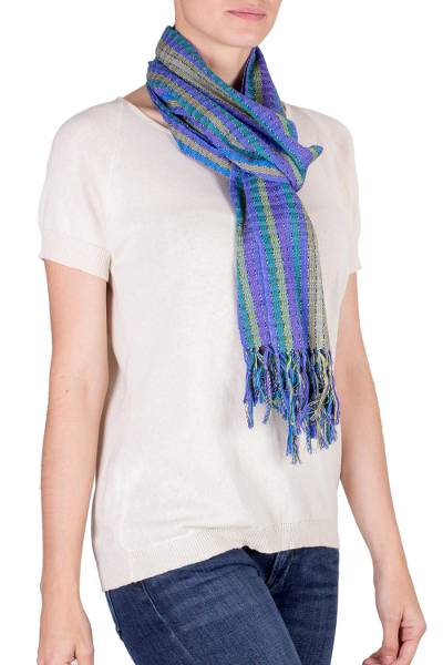 Cotton scarf, 'Valley of Lavender' - Hand Woven Cotton Scarf in Blues and Lilacs from Guatemala