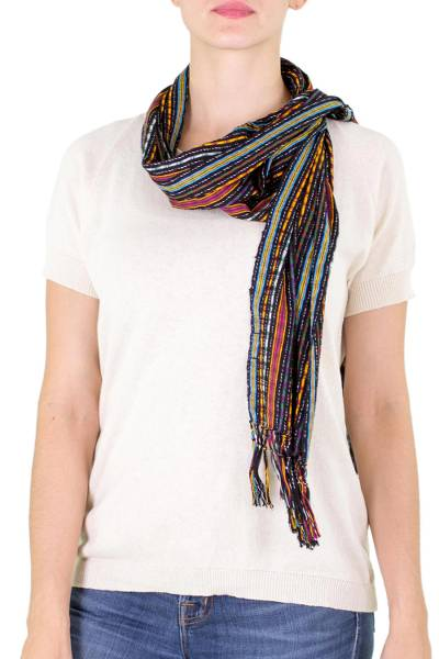 Cotton scarf, 'Valley at Night' - Guatemalan Hand Woven Cotton Scarf from Guatemala