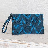 Cotton wristlet bag, 'Midnight Blue Zigzag'