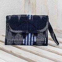 Cotton wristlet bag, 'Midnight Maya'