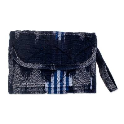 Cotton wristlet bag, 'Midnight Maya' - Multi Pocket Wristlet Purse Hand Woven Padded Cotton