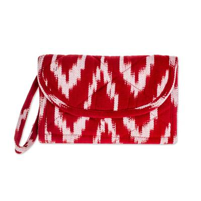 Hand Made Central American Red Cotton Wristlet Bag