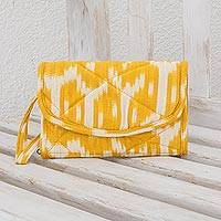 Cotton wristlet bag, 'Maya Sunlight' - Hand Woven Central American Yellow Cotton Wristlet Bag