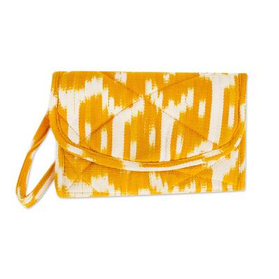 Hand Woven Central American Yellow Cotton Wristlet Bag