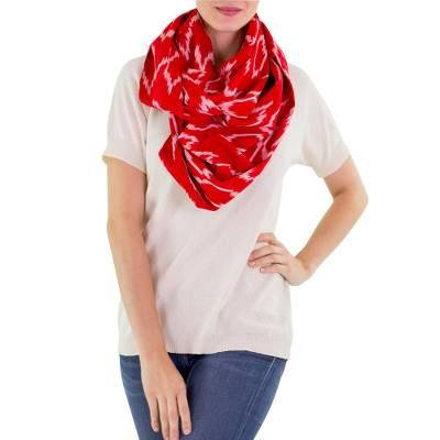 Red White Patterned Infinity Scarf in Hand Woven Cotton