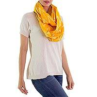 Cotton infinity scarf, 'Maya Sunlight' - Hand Woven Cotton Infinity Scarf in Bright Yellow and White