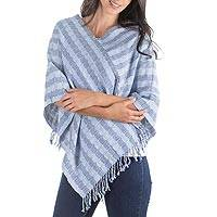 Cotton poncho, 'Solola Sky' - Handwoven Blue and White Cotton Poncho