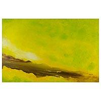 'Sacred Valley' - Original Mixed Media Abstract Painting in Browns and Yellow