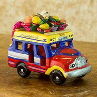 Ceramic sculpture, 'Bus to Nicaragua' - Brightly Colored Ceramic Bus Sculpture from Guatemala