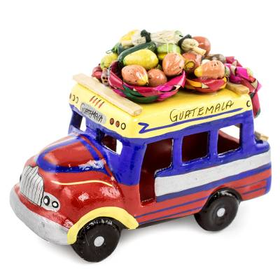 Ceramic sculpture, 'Bus to Nicaragua' - Brightly coloured Ceramic Bus Sculpture from Guatemala