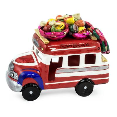 Ceramic sculpture, 'Bus to Honduras' - Ceramic Bus Figurine in Primary colours Handmade in Guatemal