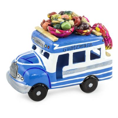 Ceramic sculpture, 'Bus to El Salvador' - Handmade Blue and White Ceramic Bus Figurine